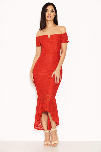 Red Lace Notch Front Detail Midi Dress
