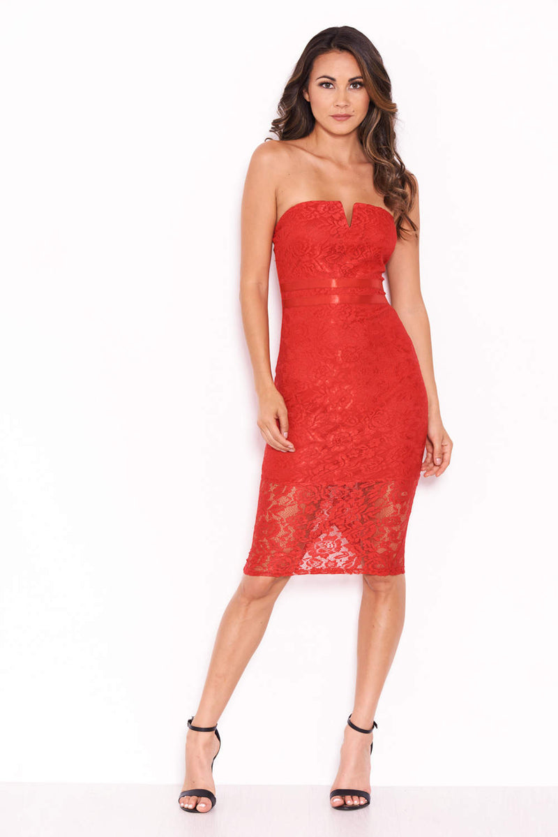 Red Lace Notch Front Dress