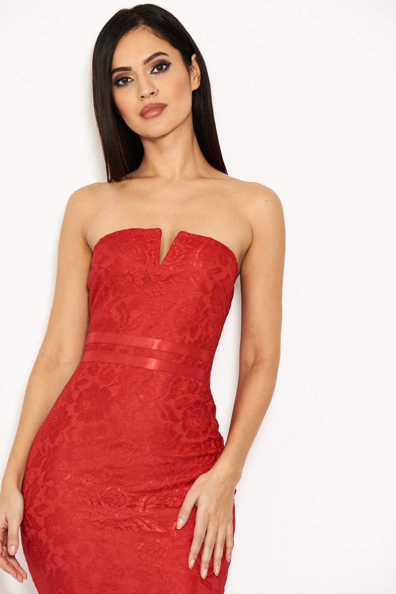 Red Lace Notch Front Midi Dress