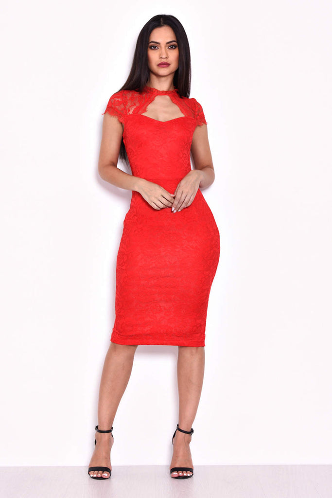 Red Lace Open Back Bodycon Midi Dress
