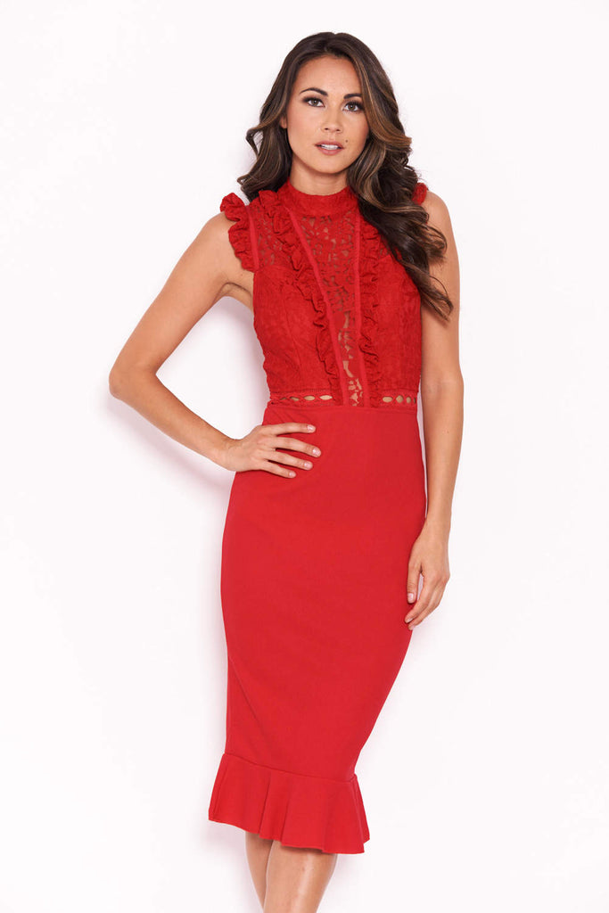 Red Lace Ruffle Hem And Sleeve Dress