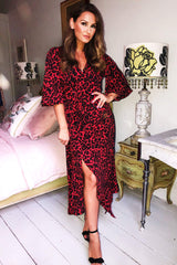 Red Leopard Printed Maxi Dress