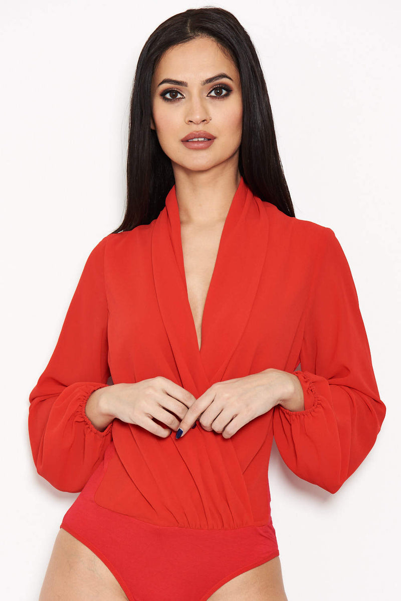 Red Mesh Detail Sleeved Bodysuit