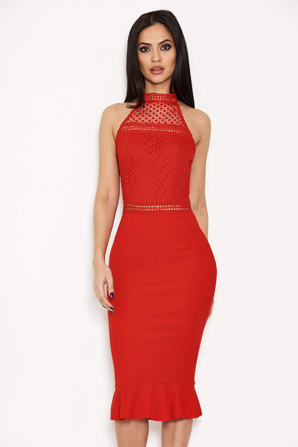 Red Midi Dress With Crochet Detail