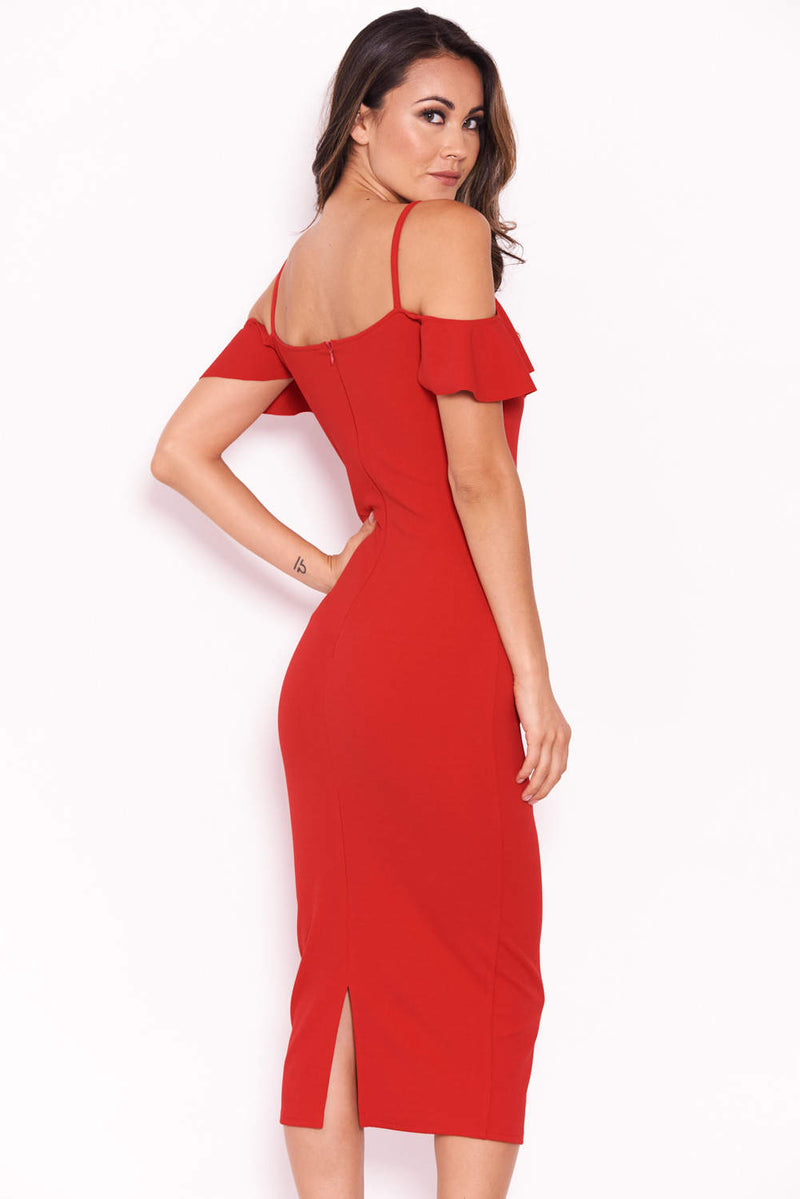 Red Midi Dress With Frill Detail