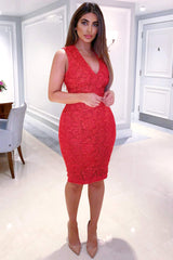 Red Midi Dress With Lace Contrast Front