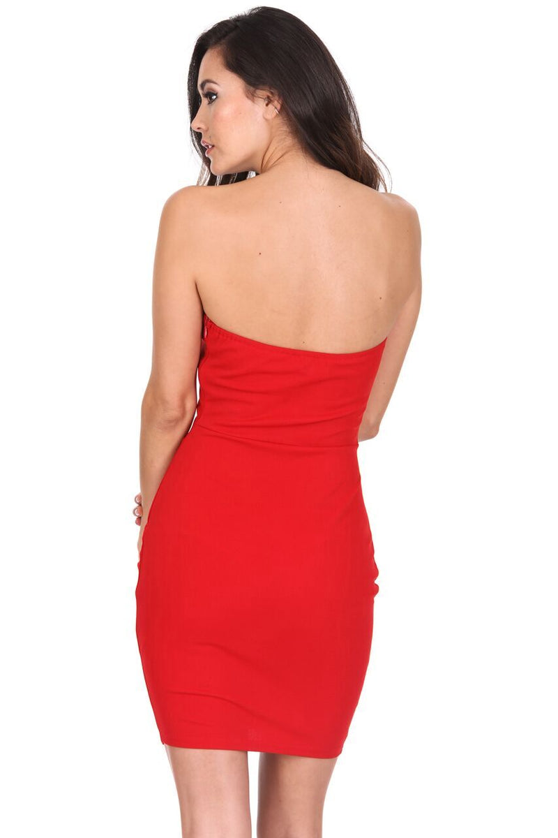 Red Ruched Frill Front Mini Dress