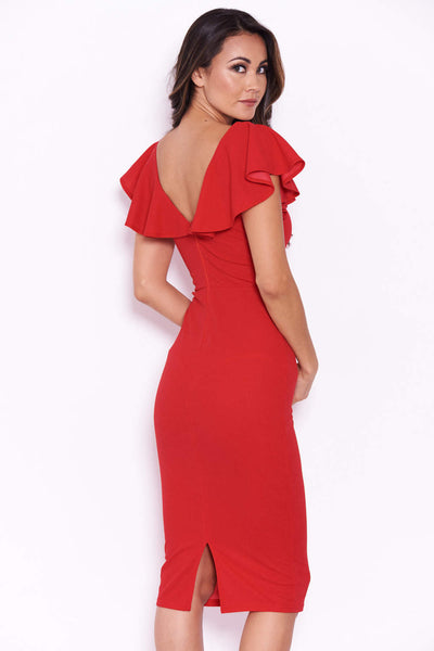Red Bow Front Midi Dress