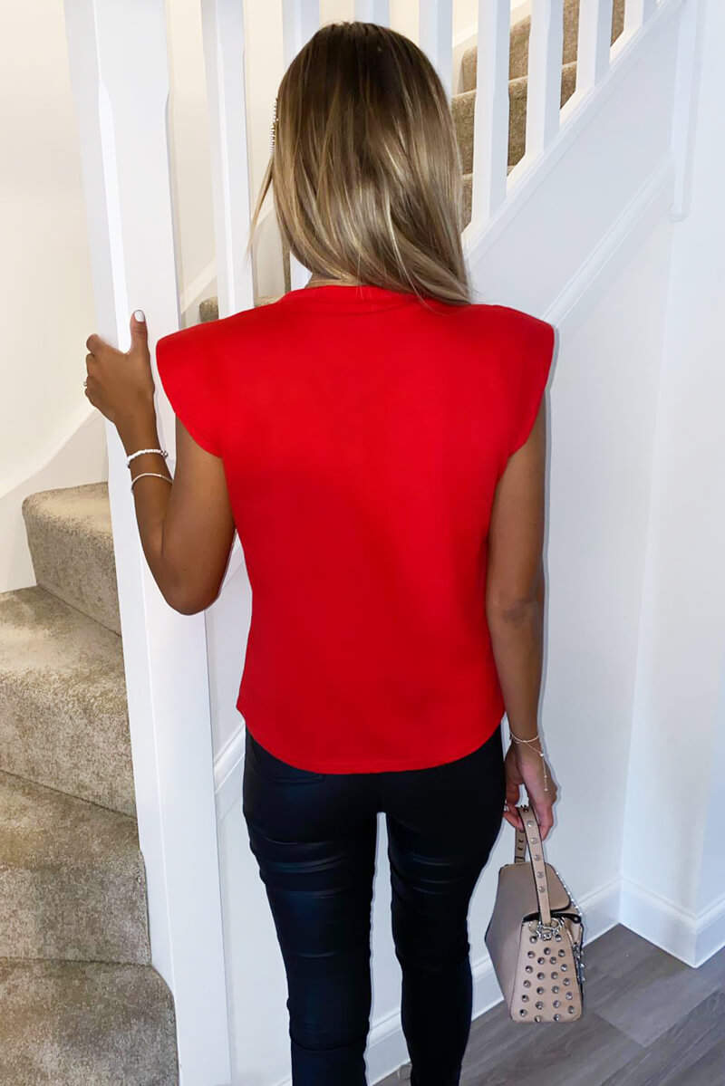 Red Padded Shoulder Sleeveless T-Shirt