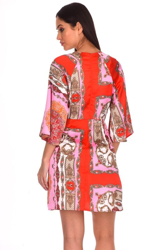 Red Patterned Silk Tie Front Shift Dress