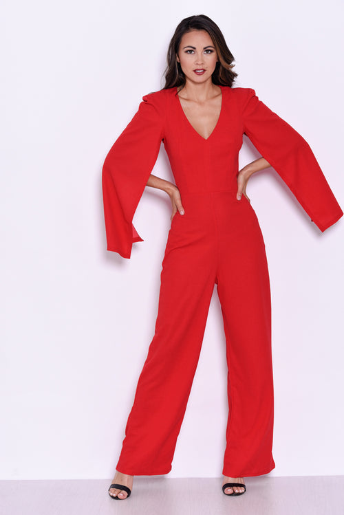 Red Plunge Wide Leg Jumpsuit