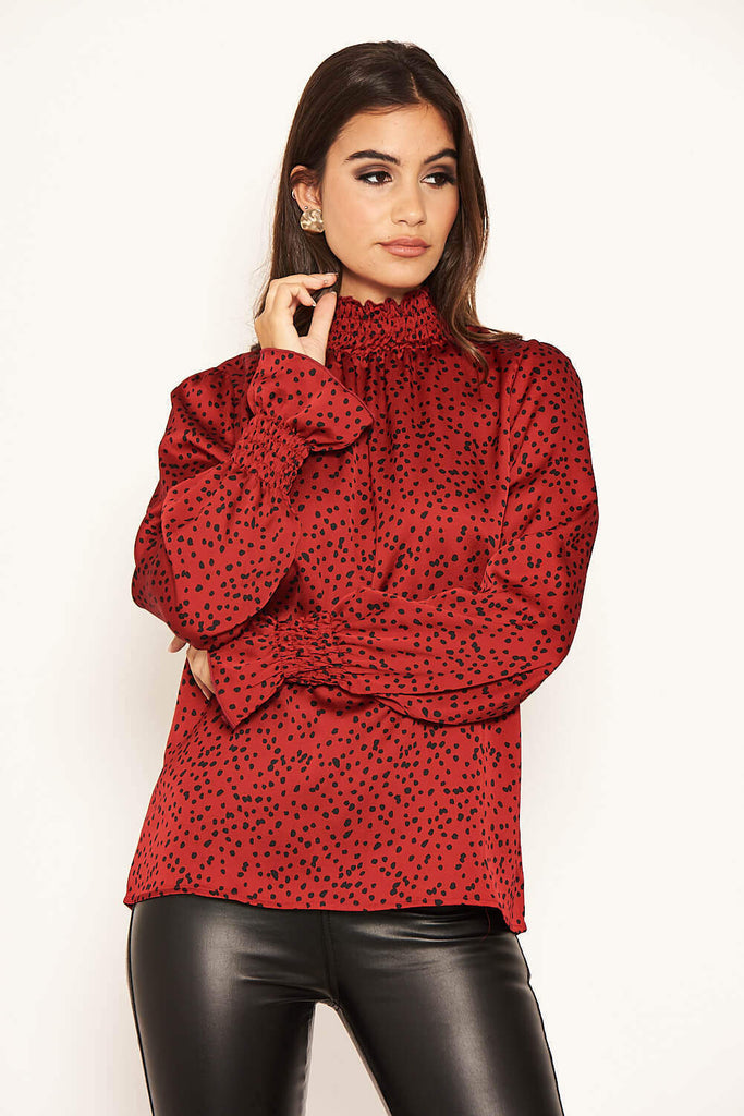 Red Polka Dot High Neck Top