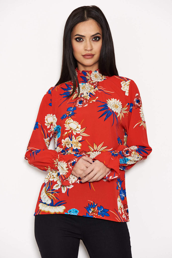 Red Printed High Neck Top