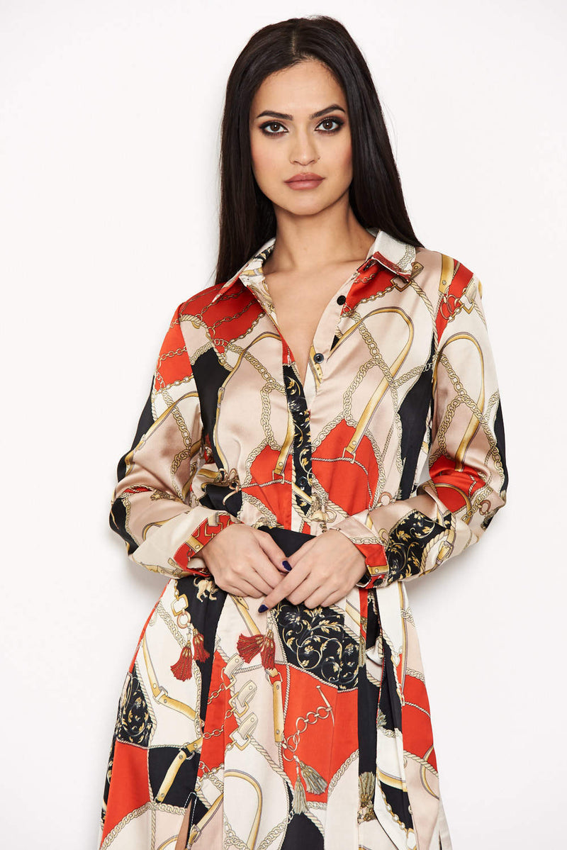 Red Printed Long Sleeve Shirt Dress