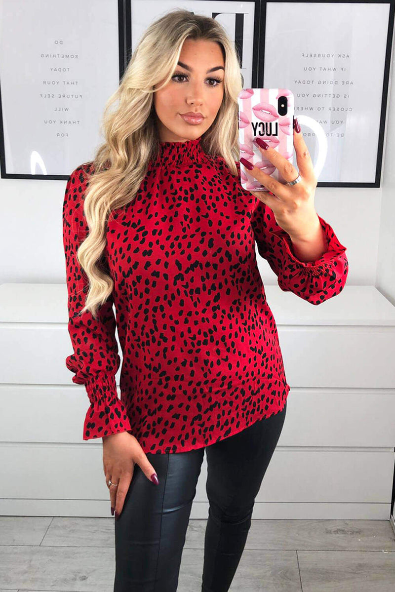 Red Printed Ruffle High Neck Top