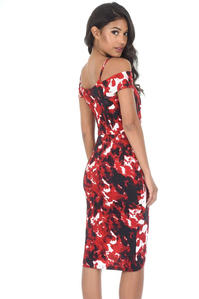 Red Printed Wrap Dress