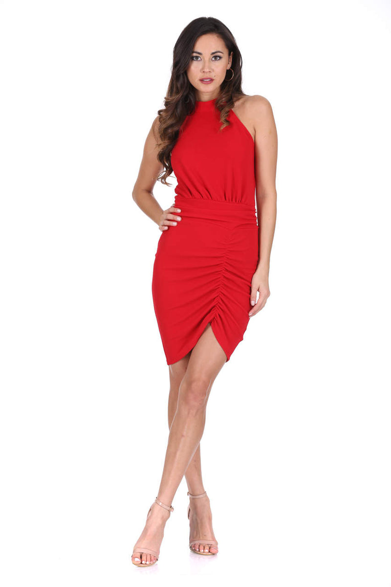 Red Ruched Backless Choker Neck Dress