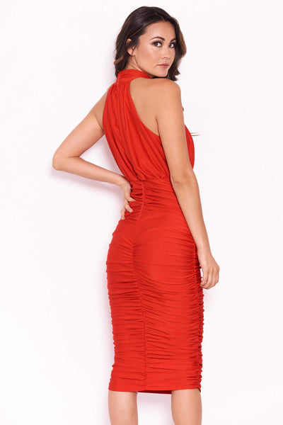 Red Ruched Halterneck Slinky Bodycon Dress