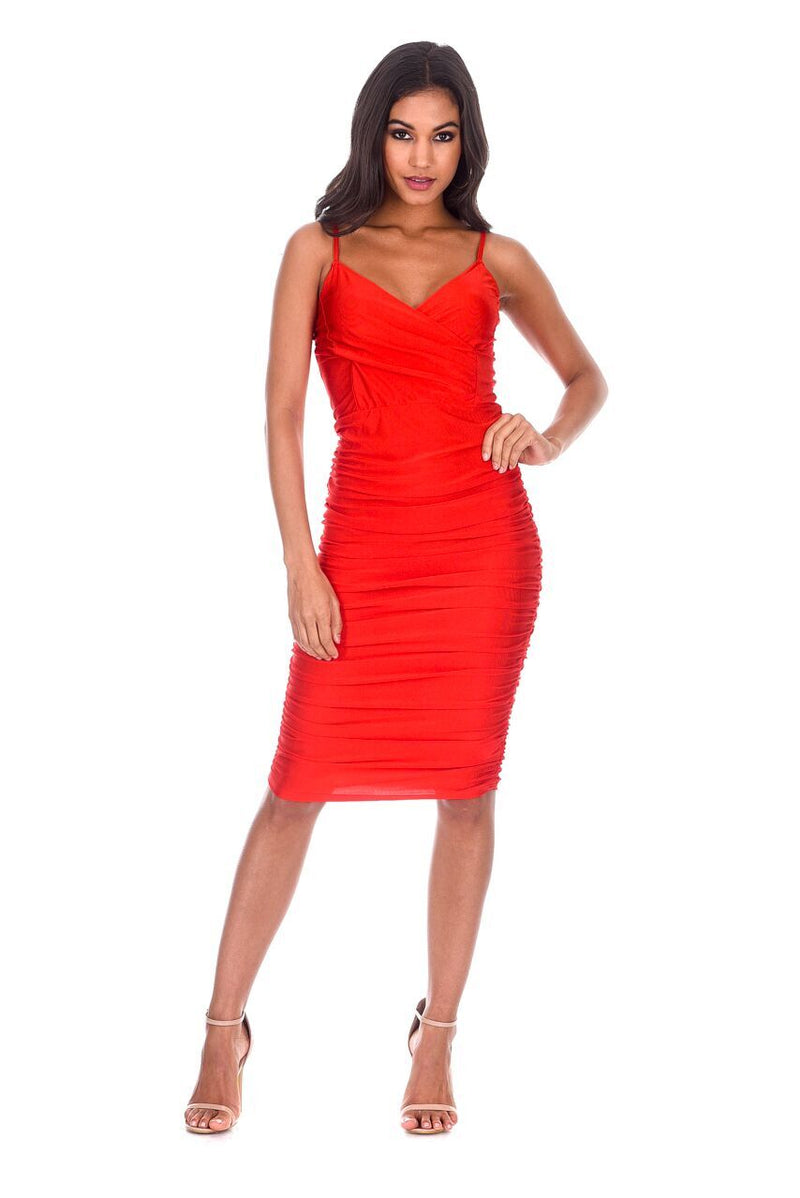 Red Ruched Midi Dress