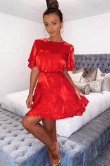 Red Satin Frill Dress