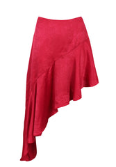 Red Satin Frill Skirt