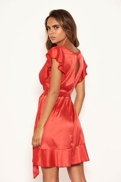 Red Satin Wrap Over Open Back Dress