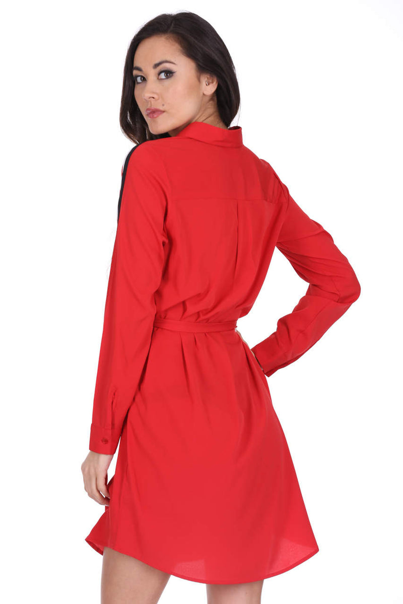 Red Shirt Dress With Stripe Detail And Tie Waist