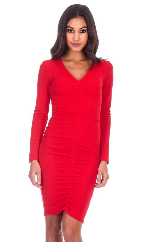 Red Sleeved Ruched Dress