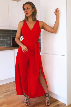 Red Split Leg Jumpsuit