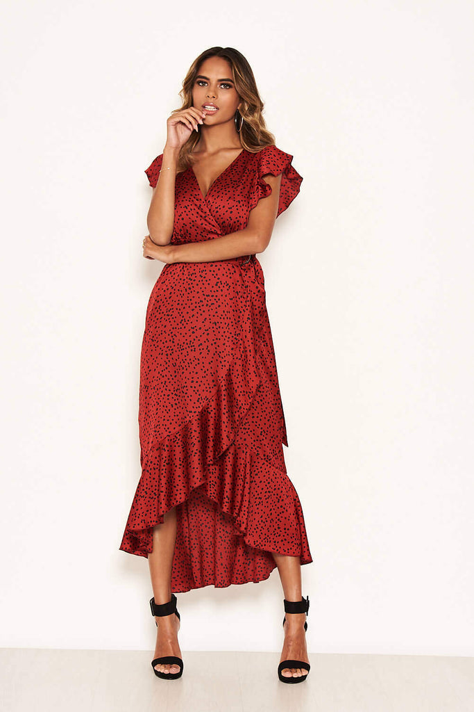 Red Spotty Frill Wrap Dress With D Ring Belt