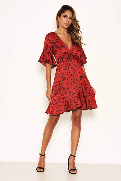 Red Spotty Wrap Dress