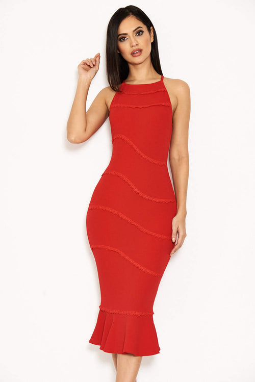 Red Strappy Fishtail Dress