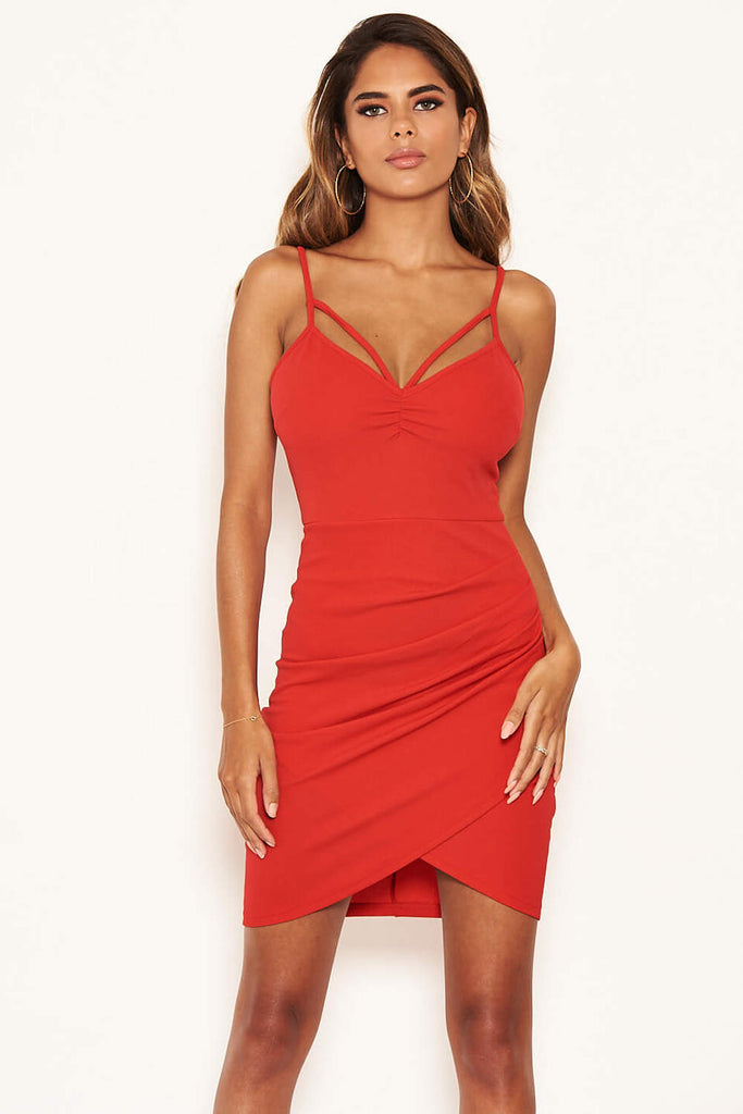 Red Strappy Ruched Bodycon Dress