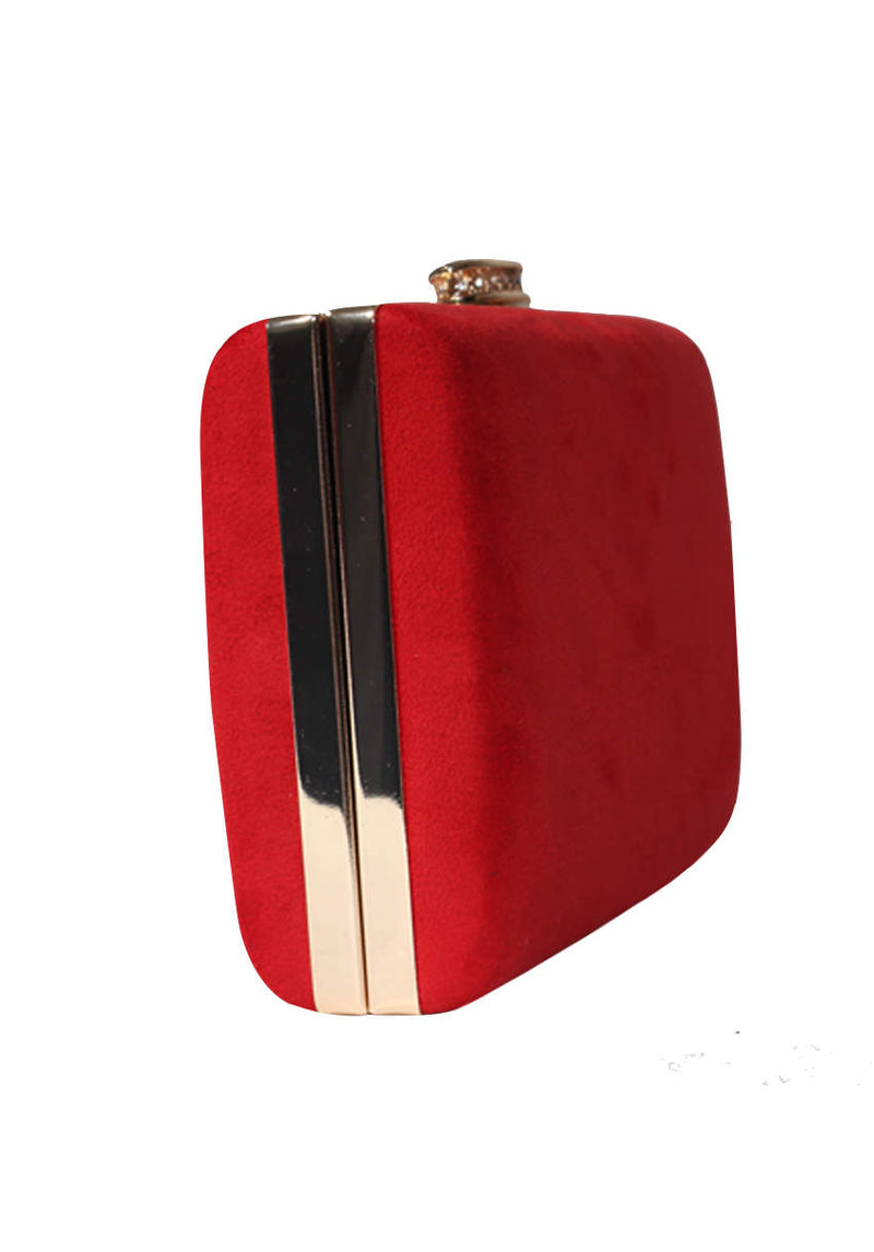 Red Suede Box Clutch With Jewel Clasp