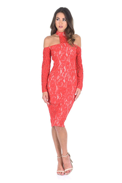 Red T-Bar Lace Choker Midi Dress