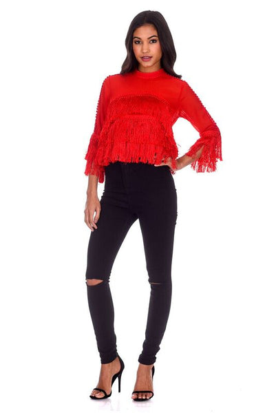 Red Tassel Top