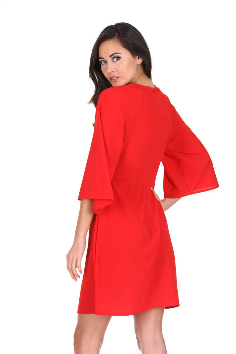 Red Tie Waist Flared Mini Dress