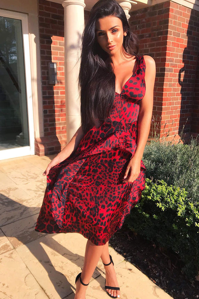 Red V Neck Animal Print Dress