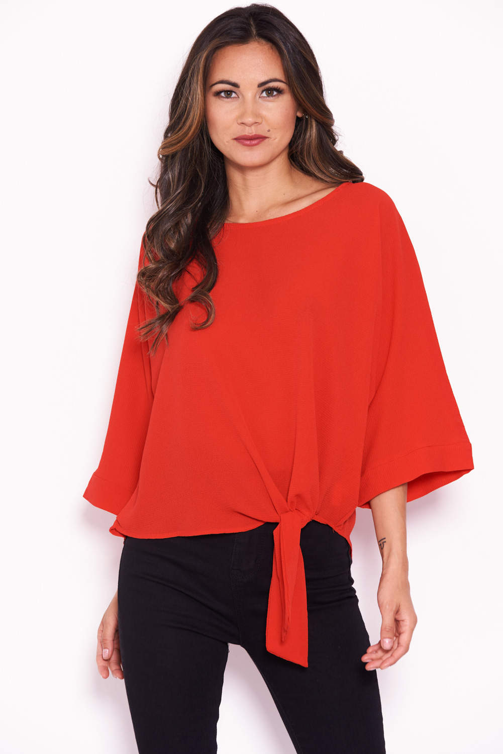 Red Wide Sleeve Top