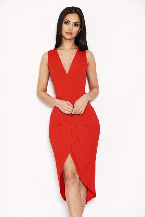 Red Wrap Bodycon Dress