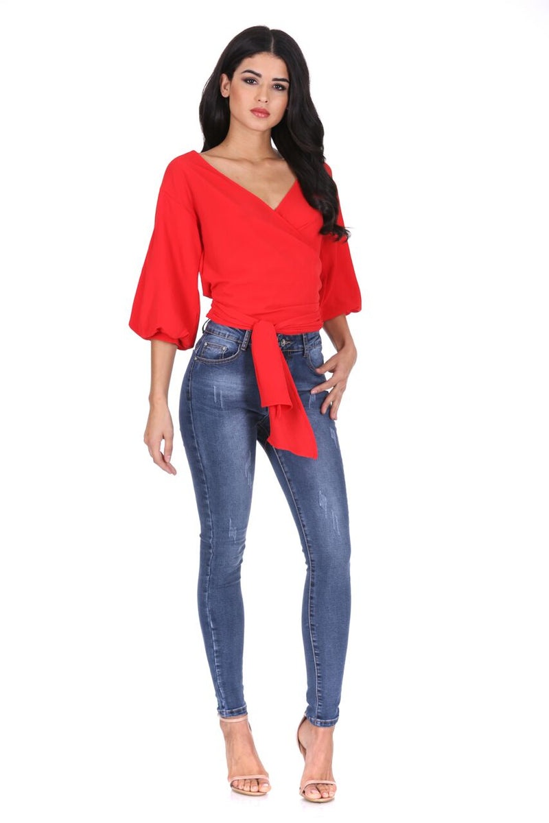 Red Wrap Crop Top