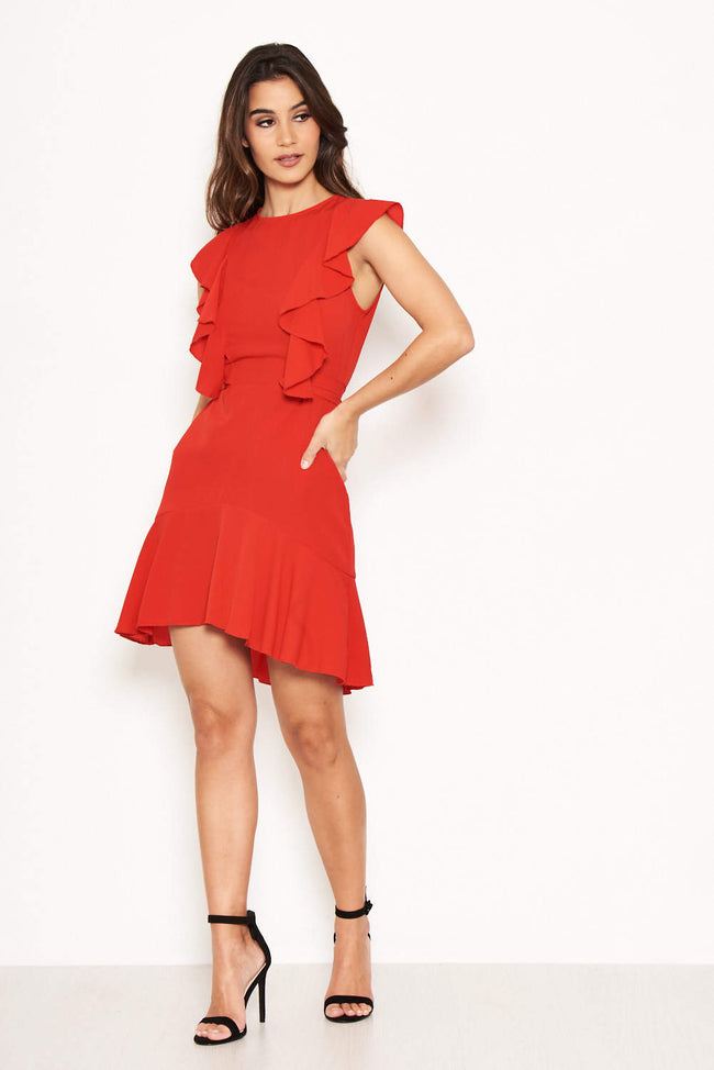 Red Wrap Frill Detail Dress