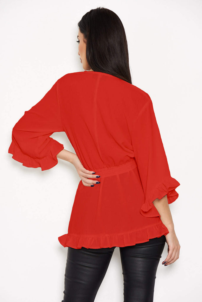 Red Wrap Frill Top