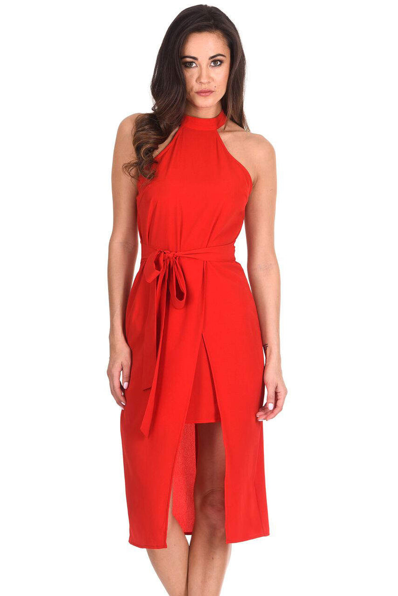 Red Wrap Skirt Cut In Neck Dress