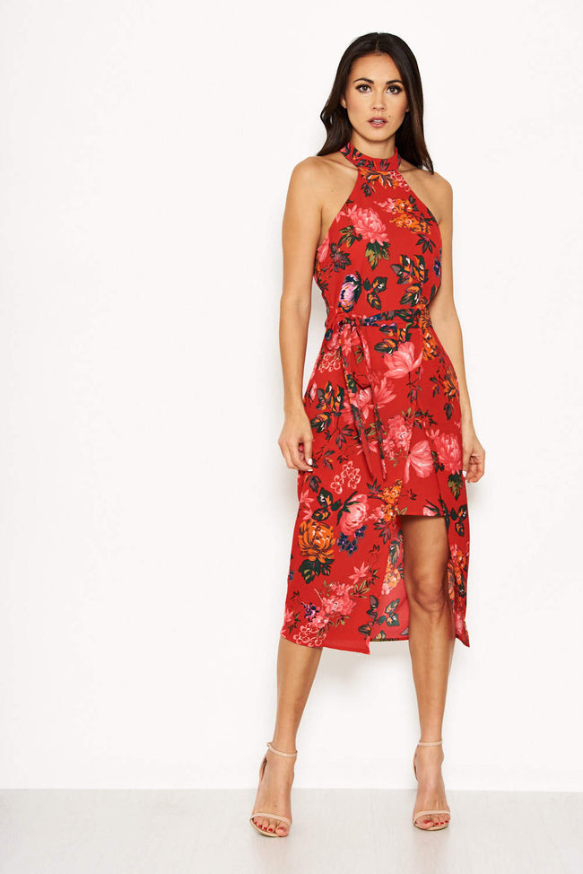Red Floral Wrap Skirt Cut In Neck Dress