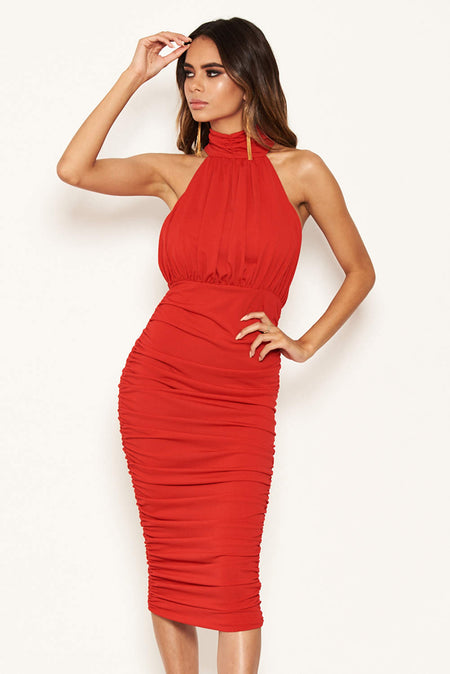 Mink Ruched Strappy Bodycon Midi Dress