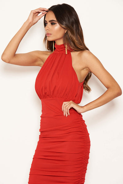 Red High Neck Ruched Bodycon Midi Dress