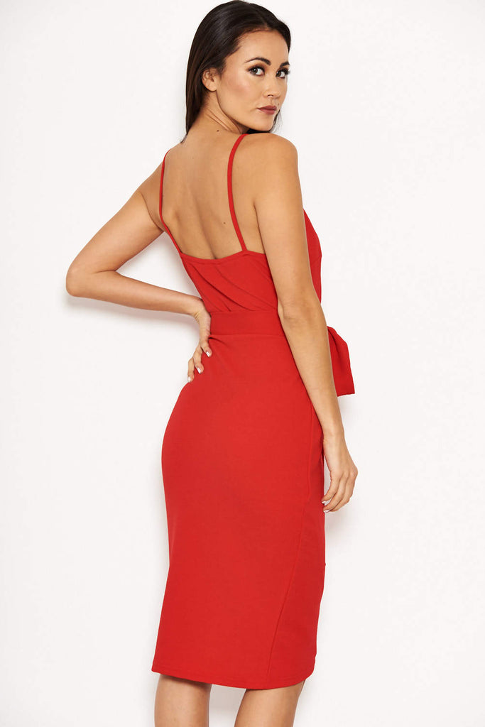 Red Button Front Detail Tie Dress