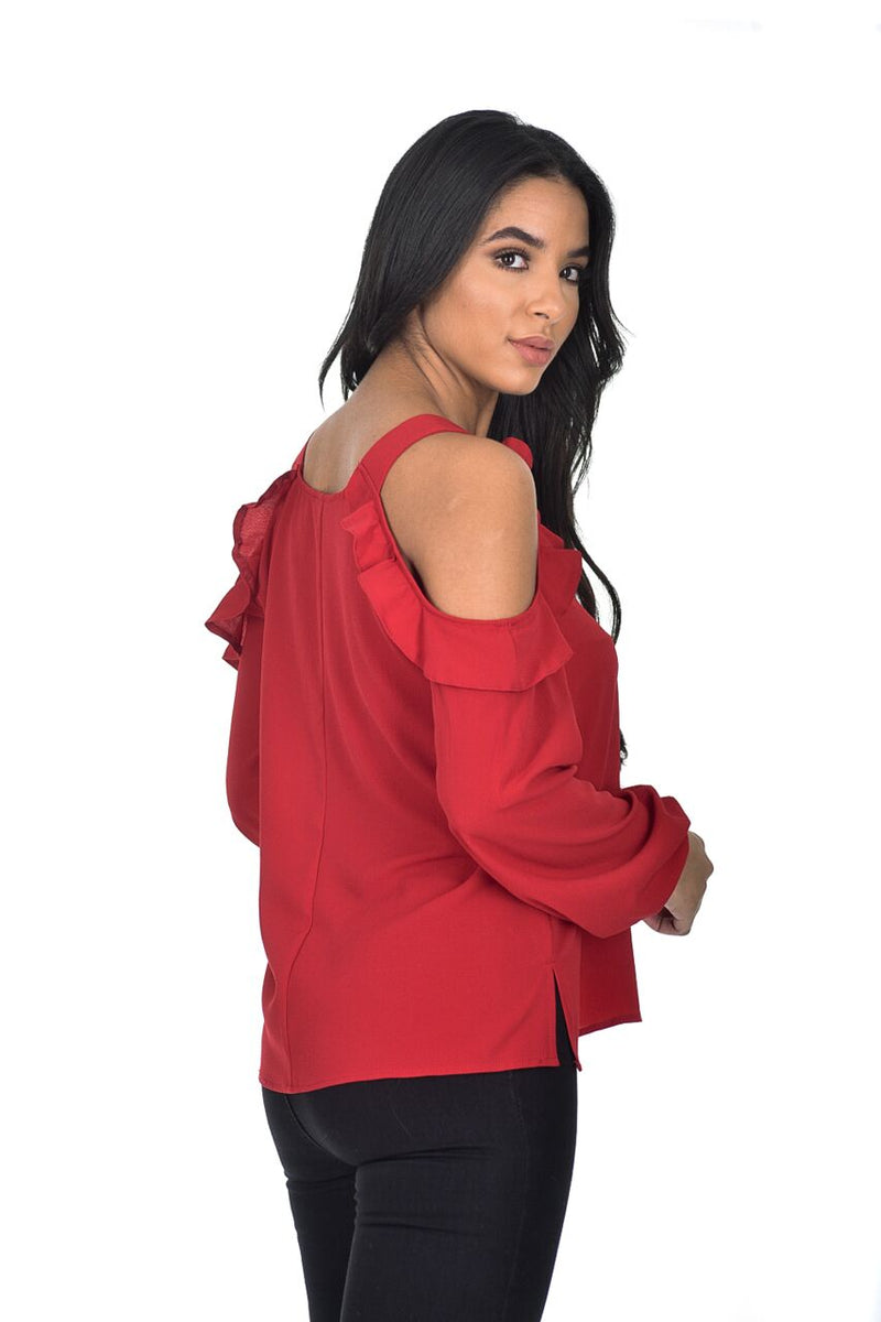 Red Cold Shoulder Frill Detailed Top