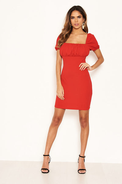 Red Square Neck Ruched Bodycon Mini Dress